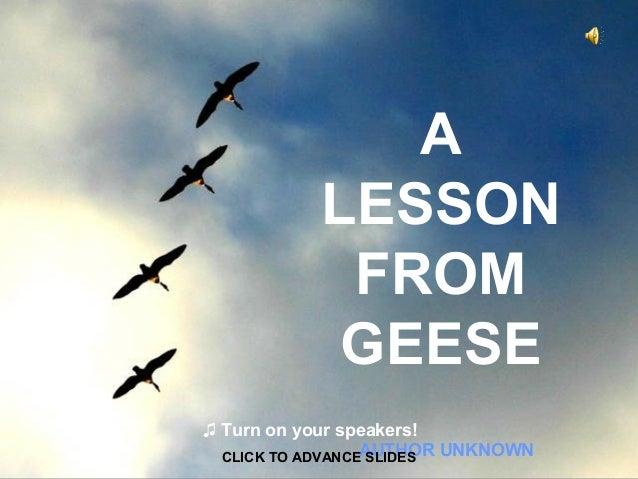 A LESSON FROM GEESE ♫ Turn on your speakers! CLICK TO ADVANCEAUTHOR UNKNOWN SLIDES
