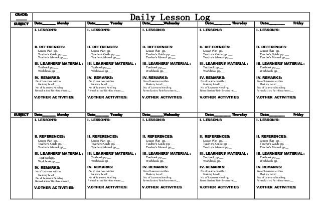 Daily Lesson Log Format  Template