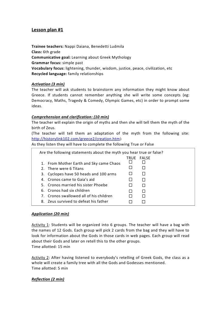 Lesson plan #1Trainee teachers: Nappi Daiana, Benedetti LudmilaClass: 6th gradeCommunicative goal: Learning about Greek My...