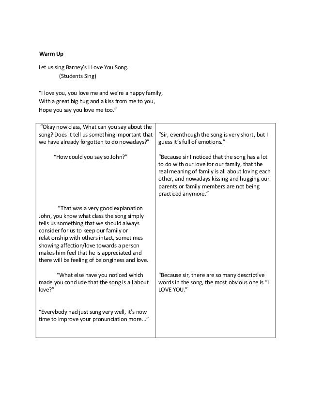 Lesson Plan In English 1