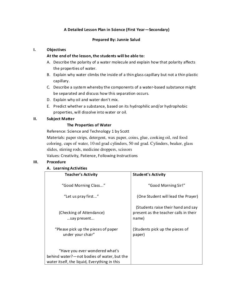 semi detailed lesson plan sample in secondary