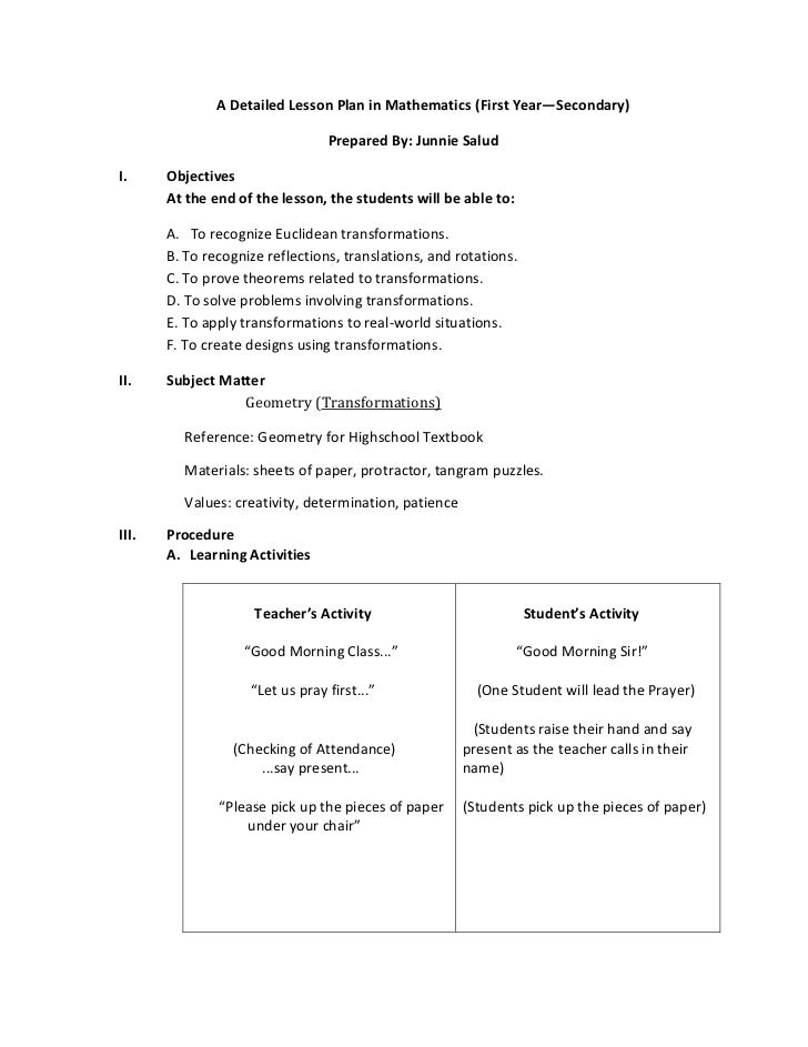 example of a detailed lesson plan in science