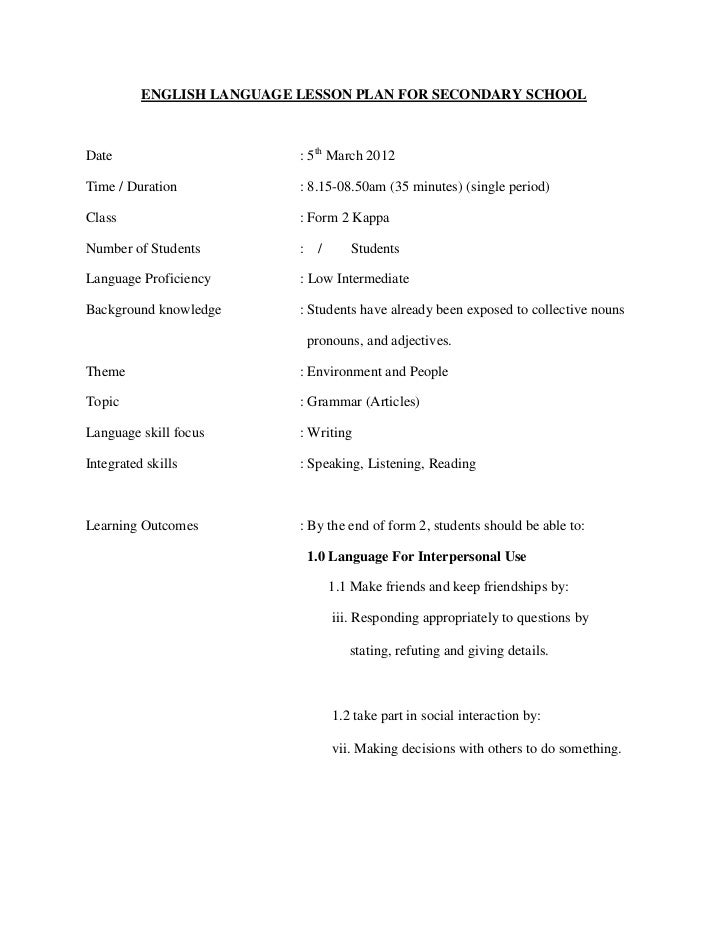 ENGLISH LANGUAGE LESSON PLAN FOR SECONDARY SCHOOLDate                       : 5th March 2012Time / Duration            : 8...
