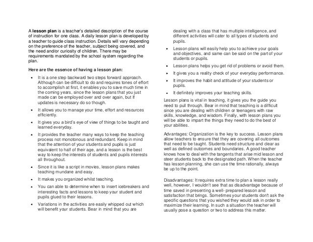 A lesson plan is a teachers detailed description of the course          dealing with a class that has multiple intelligenc...