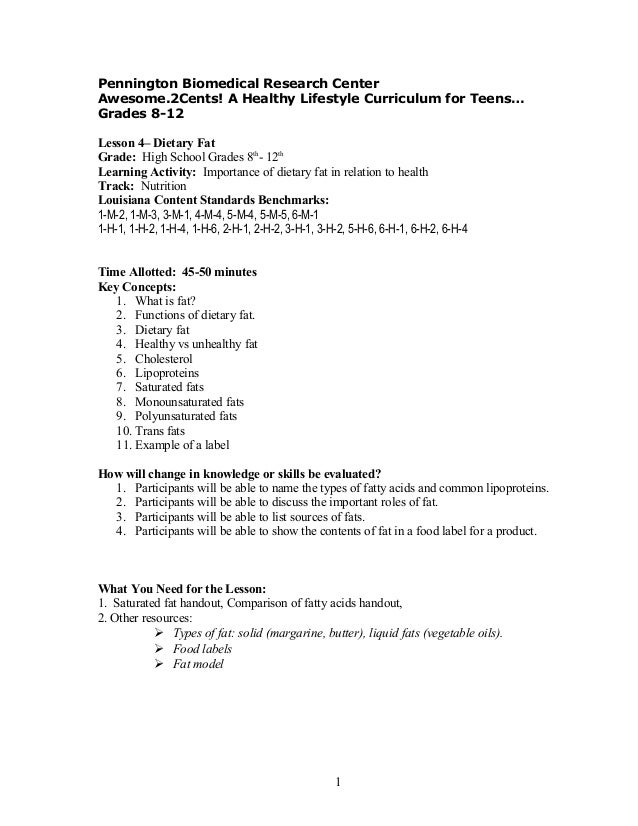 Adolescent curriculum Lesson plan 4 – Healthy Living Lesson Plans For Middle School