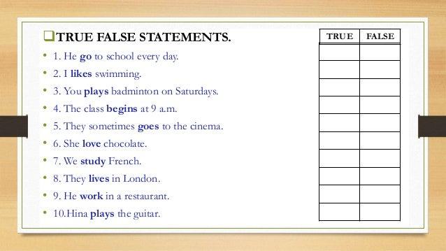 Lesson plan present simple tense