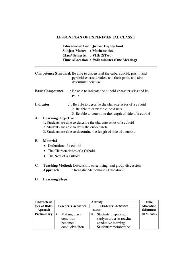 Lesson Plan Of Experimental And Control Class