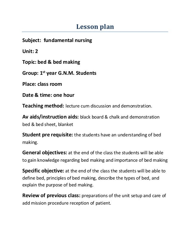 Lesson plan for Nursing lesson plan template