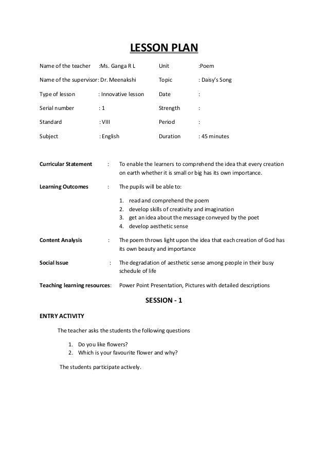 Lesson plan lesson plan name of the teacher ms ganga r l unit poem name of mightylinksfo