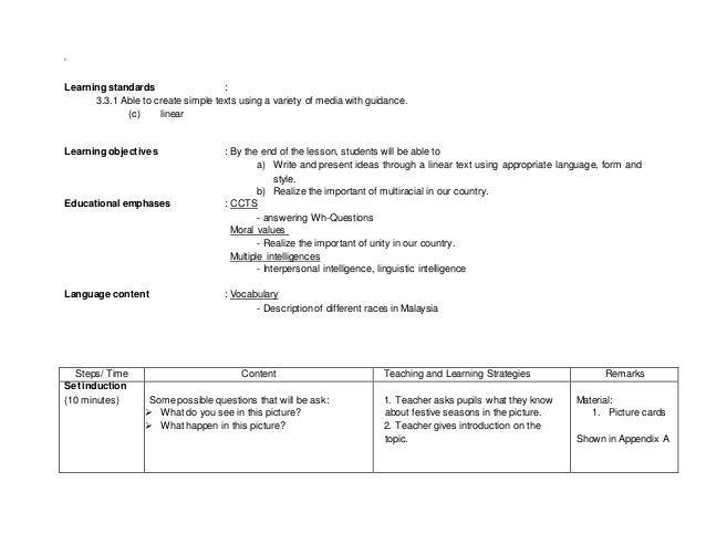 Sample Lesson Plan Kssr English Year 2