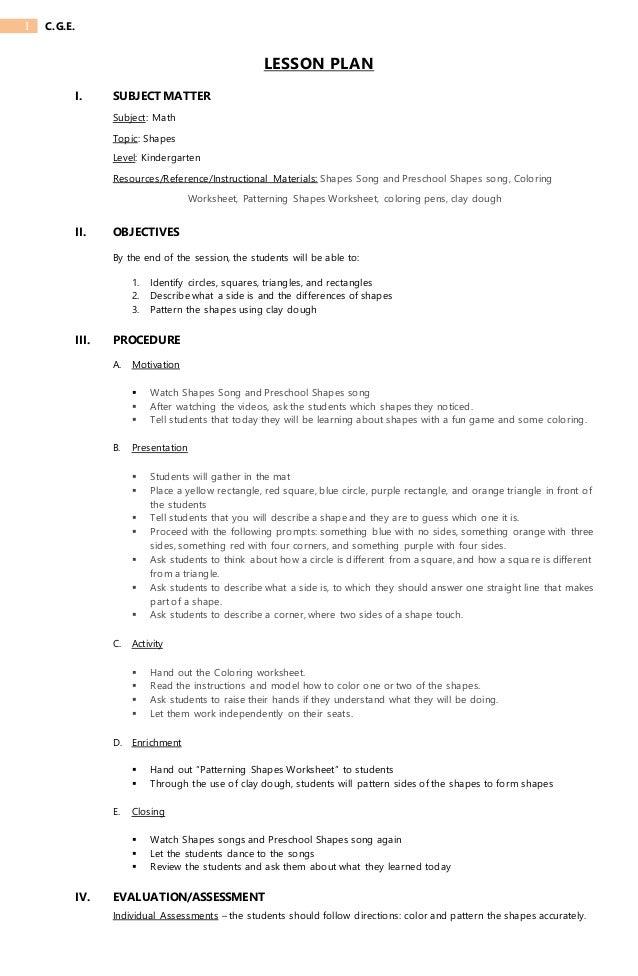 lesson plan about shapes 1 638 - Lesson Plan For Kindergarten Math