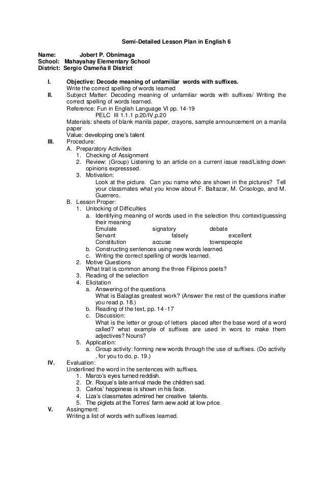 deductive lesson plan in english essay Semi detailed lesson plan for english i objectives 1 point out author's purpose 2 note specific details to support the main idea 3 relate the author with the.