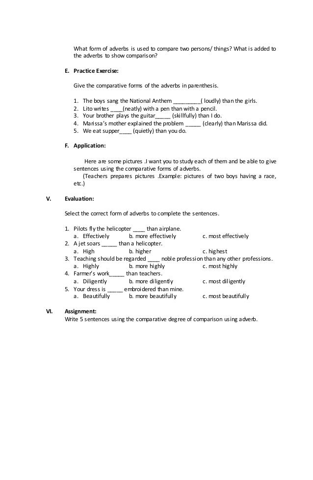 5th Grade adverbs worksheets 5th grade : Lesson plan english 6 -comparative form adverb