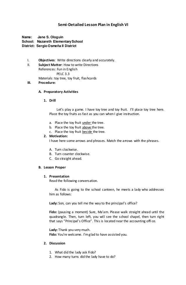 Lesson Plan English 6