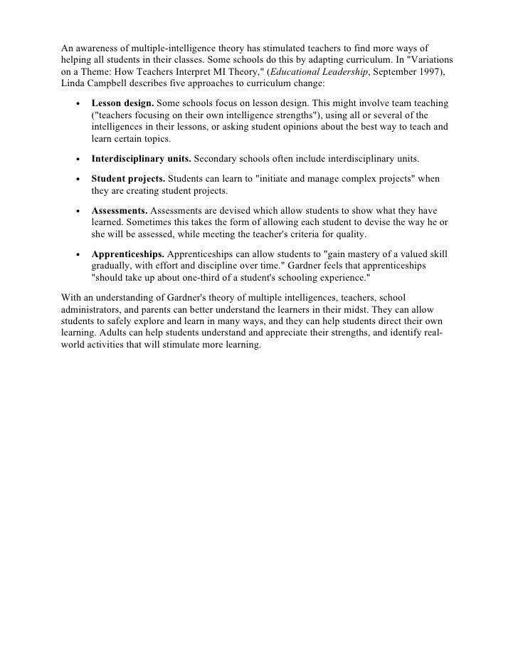 Multiple intelligences gardners theory essay