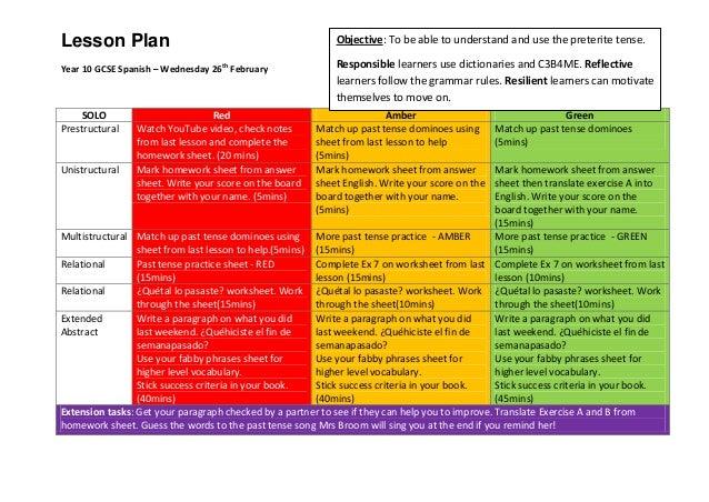 Lesson plan preterite tense second lesson, self differentiated
