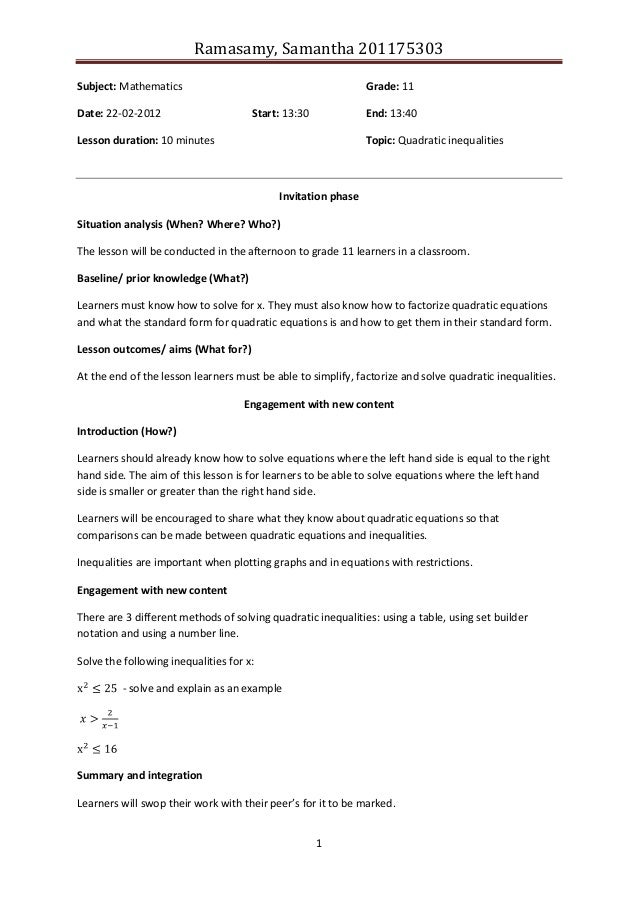 Ramasamy, Samantha 2011753031Subject: Mathematics Grade: 11Date: 22-02-2012 Start: 13:30 End: 13:40Lesson duration: 10 min...