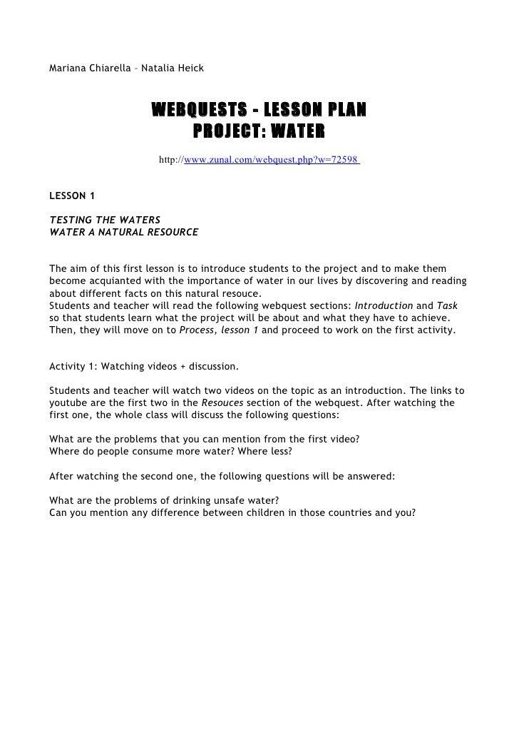 Mariana Chiarella – Natalia Heick                          WEBQUESTS - LESSON PLAN                           PROJECT: WATE...