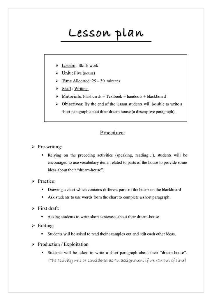 Lesson Plan Writing Activity