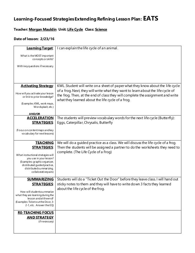 Lesson Plan - Learning cycle lesson plan template