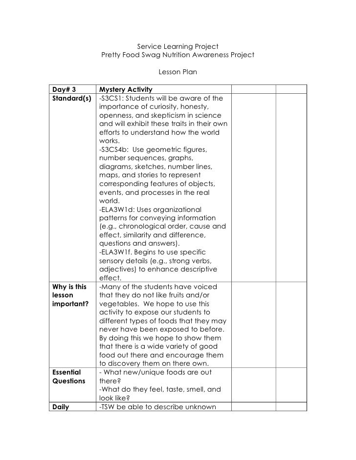 Service Learning Project<br />Pretty Food Swag Nutrition Awareness Project<br />Lesson Plan<br />Day# 3Mystery ActivitySta...