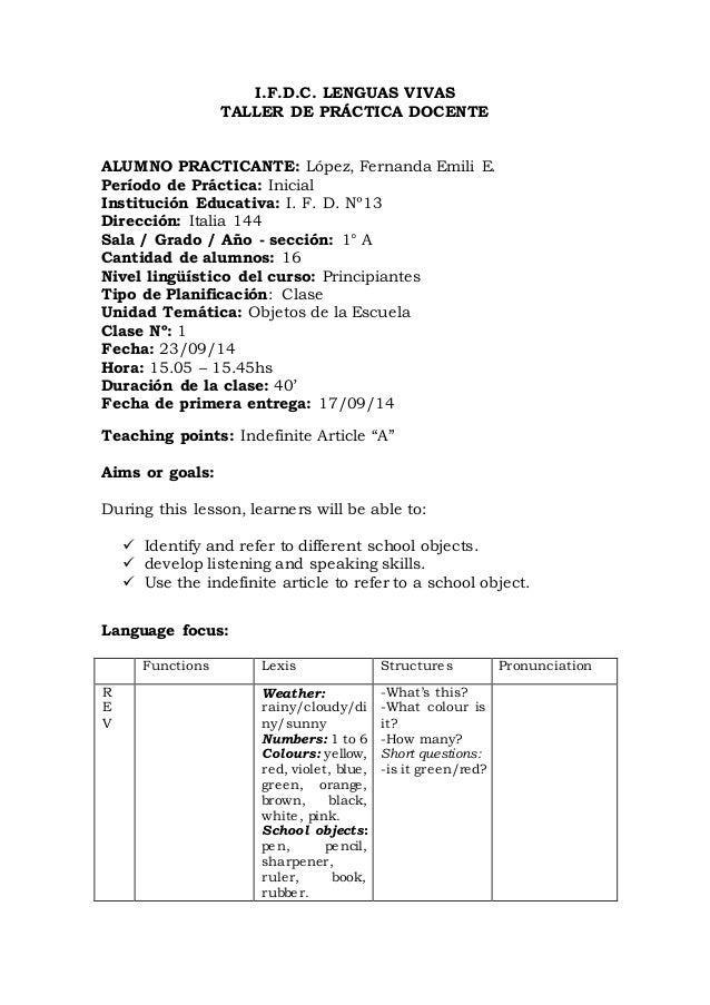 Lesson Plan 1 Kindergarten Level