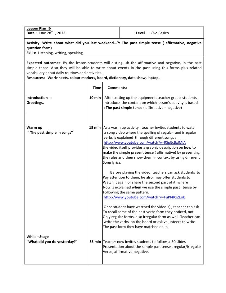 Lesson Plan Octavo Past Simple Tense - Simple lesson plan template for teachers