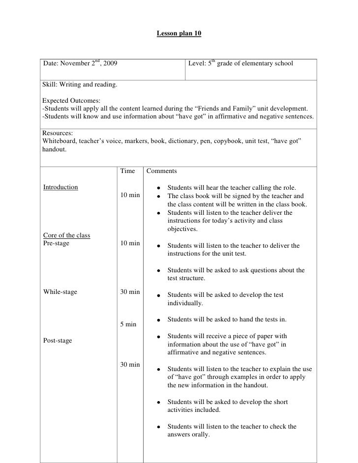 Lesson plan 10<br /><ul><li>Date: November 2nd, 2009Level: 5th grade of elementary schoolSkill: Writing and reading.Expect...