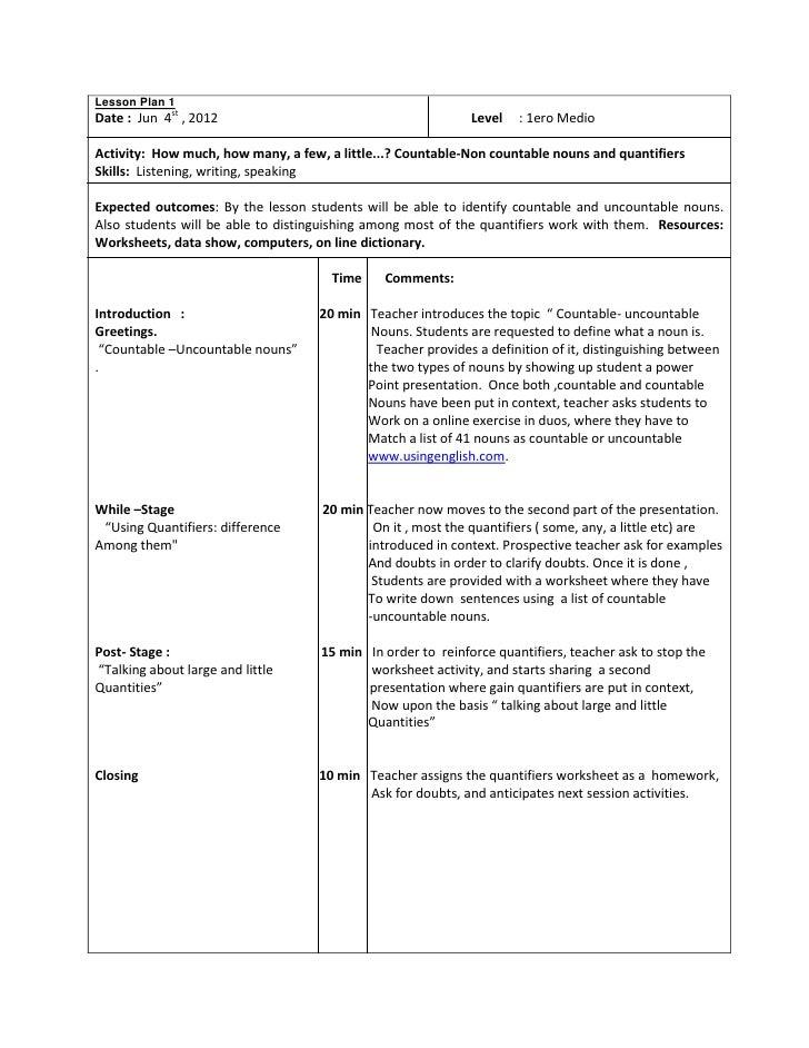 Lesson plan 2 : 1ero Medio, June 8th , 2012.