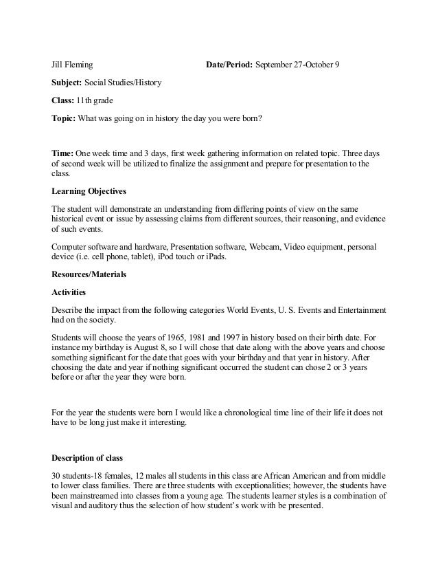 Lesson Plan Social StudiesHistory - History lesson plan template