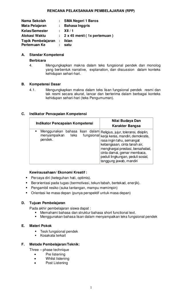 RENCANA PELAKSANAAN PEMBELAJARAN (RPP)Nama Sekolah                 :   SMA Negeri 1 BarosMata Pelajaran               :   ...