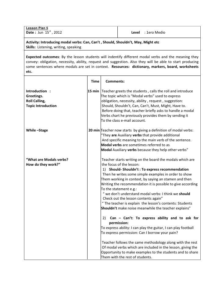 Lesson Plan 5 Modal Verbs 1 1ero Medio