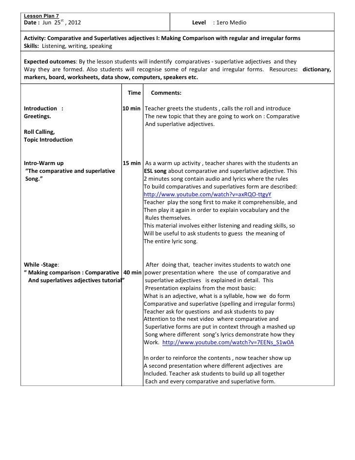 Lesson Plan 7 Comparative And Superlatives 1ero Medio