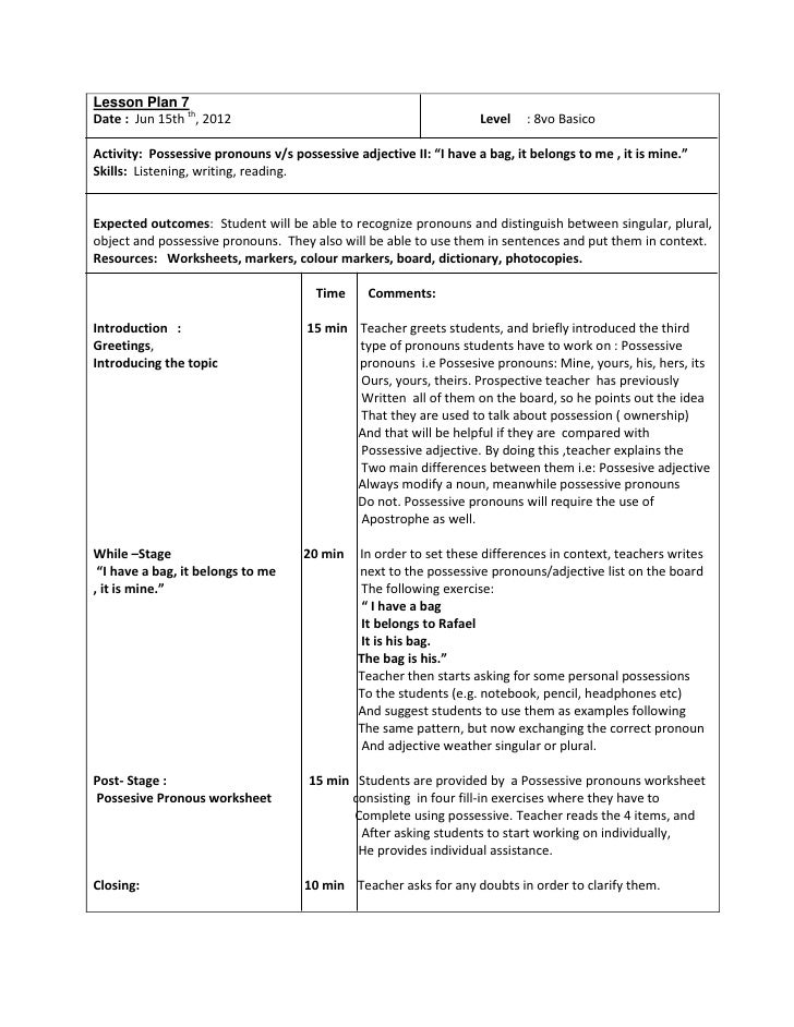 Lesson plan 7 octavo basico possesive pronouns ii – Possessive Adjectives Spanish Worksheet