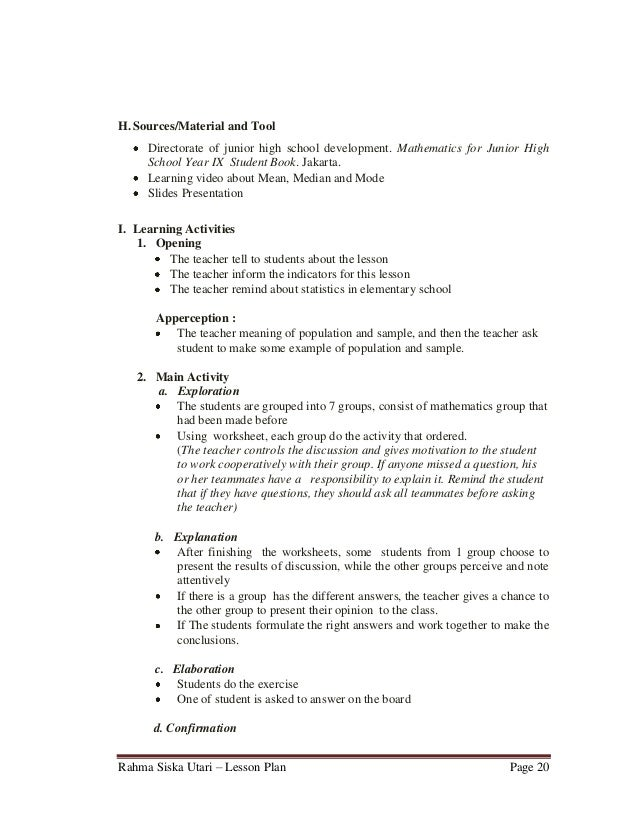 lesson plan for maths in b ed