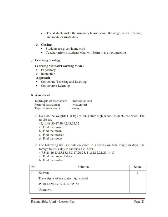Lesson plan 9th grade junior high school