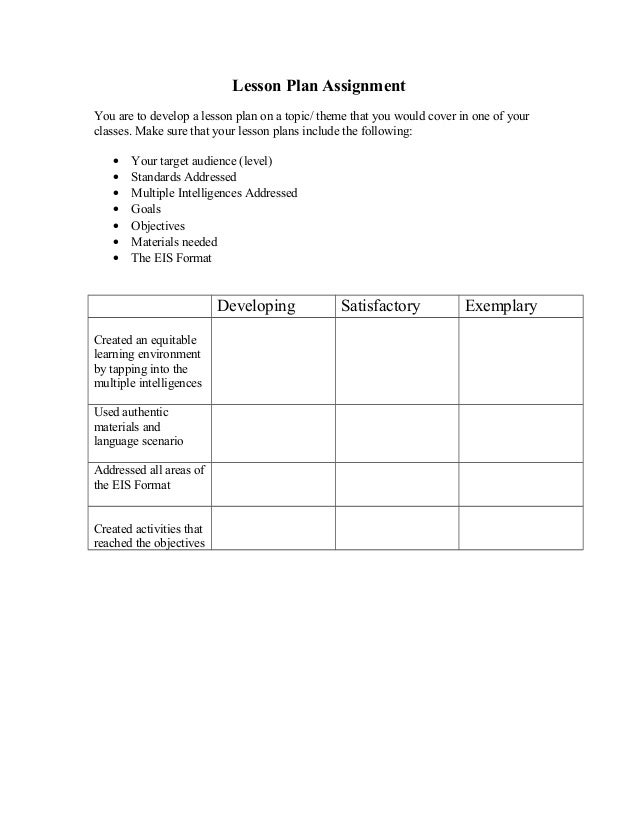 assignment rubric 1 In step 1 of creating an authentic assessment, you identified what you wanted  your  by constructing a rubric to measure student performance on the task.