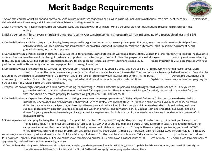 Printables Camping Merit Badge Worksheet lesson plan camping merit badge requirements 1 show that you know first aid for and how to prevent