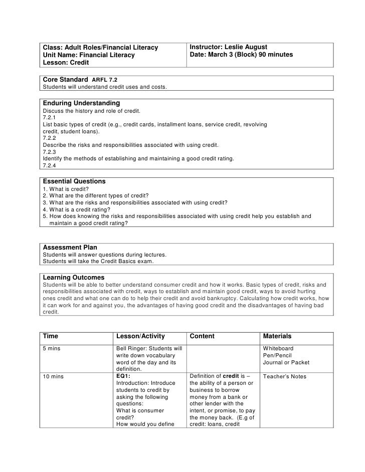 Class: Adult Roles/Financial LiteracyUnit Name: Financial LiteracyLesson: CreditInstructor: Leslie AugustDate: March 3 (Bl...