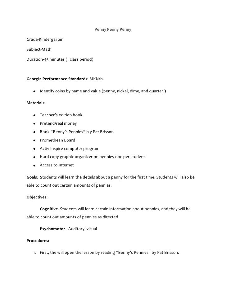 Penny Penny PennyGrade-KindergartenSubject-MathDuration-45 minutes (1 class period)Georgia Performance Standards: MKN1h   ...