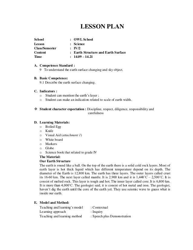 Lesson plan earth – Earth Structure Worksheet