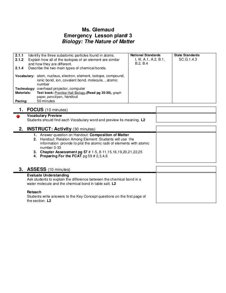 Lesson Plan Emergency Bio