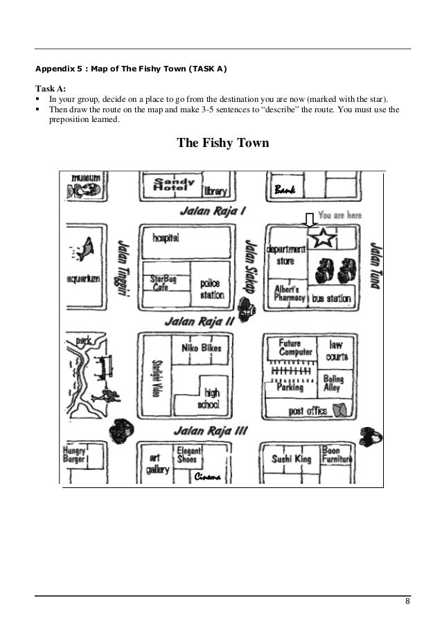 Appendix 5 : Map of The Fishy Town (TASK A)Task A: In your group, decide on a place to go from the destination you are no...