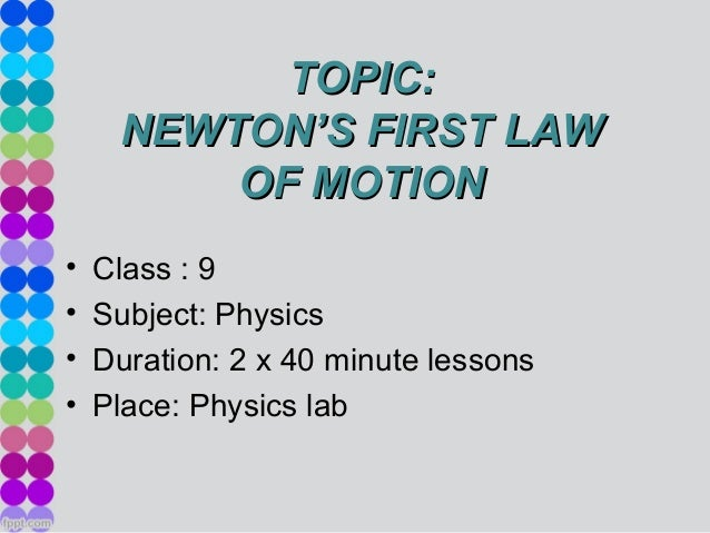 Lesson plan - Newton's first law of motion