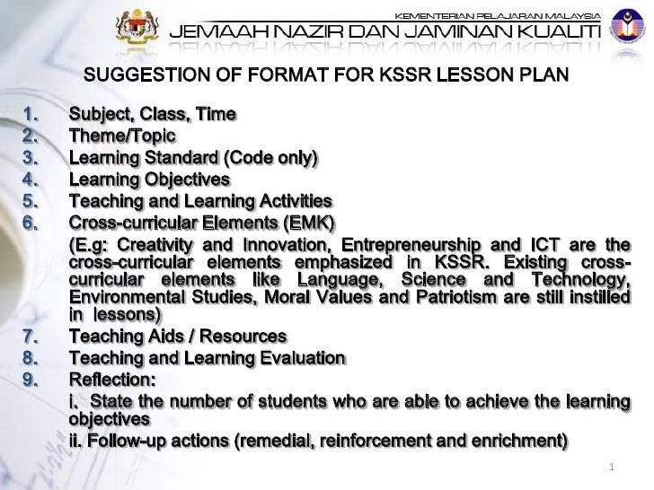 Lesson plan format KSSR – Cross Curricular Lesson Plans Elementary