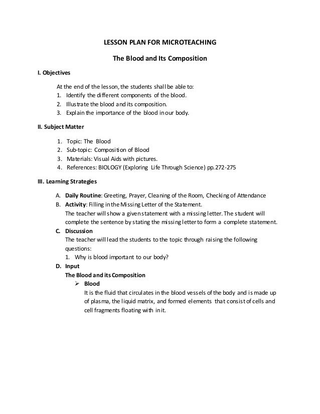 Lesson Plan For Microteaching Revised Jove Abletes