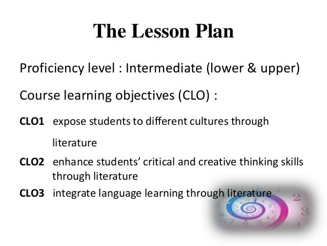 Lesson plan for teaching literature component for tertiary