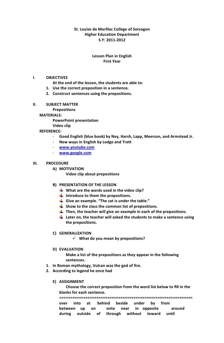 worksheet Prepositional Phrase Worksheet With Answers lesson plan for preposition st louise de marillac college of sorsogon higher
