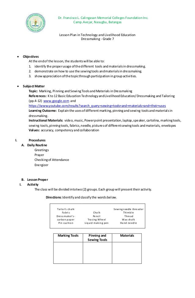 Semi Detailed Lesson Plan In Grade 7 Dressmaking Tools And