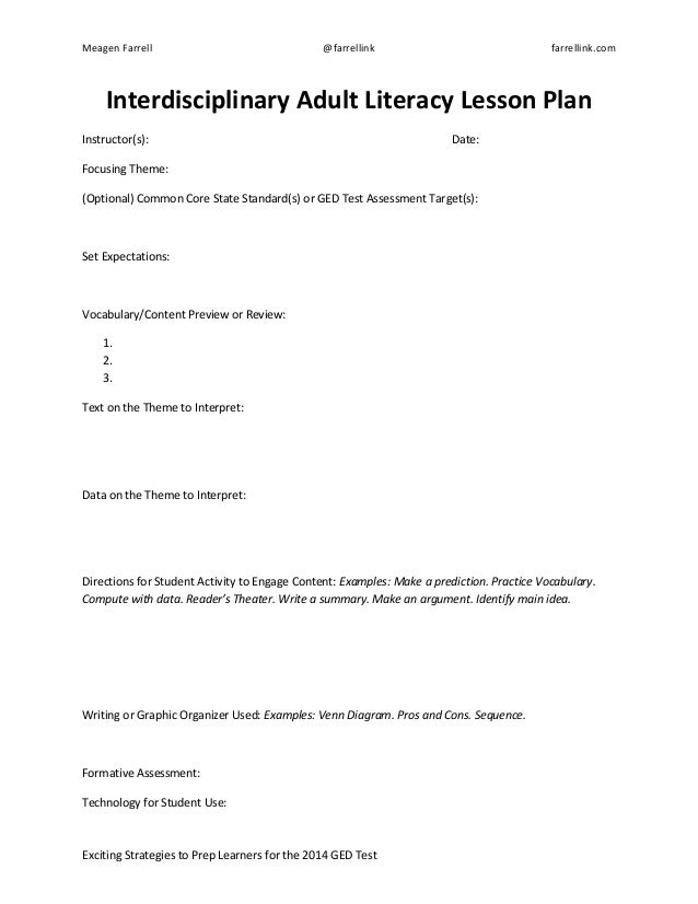Adult Literacy Lesson Plan Sample Template